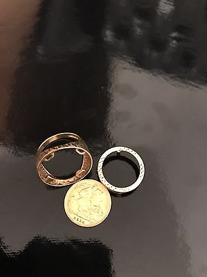 9ct gold Half Sovereign with Corresponding Ring Mount. Half Sovereign Coin 1914