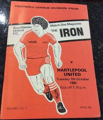 Scunthorpe V Hartlepool 07/10/1980 Football Programme Mint Condition