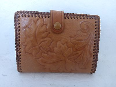 """Vintage Hand Tooled Leather WALLET Monogrammed """"W"""" Laced Leaves Change Purse"""