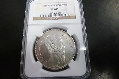 1866 Mo  Maximillian Peso RARE Certified By NGC MS 63!!!!!!!!!!
