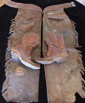 Nice Old Heavy Duty Cowboy Leather Bronc Chaps and Boots