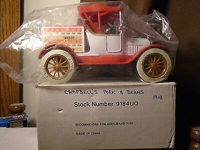 Campbells Pork & Beans. Ertl 1918 Ford Runabout Truck Bank Stock # 9184UO