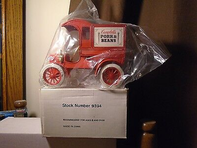 Campbells Pork & Beans. Ertl 1905 Ford Delivery Car Truck Bank Stock # 9394