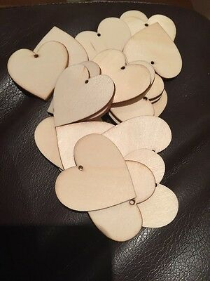 20 X Wooden Heart Shaped Craft Embellishments With Hole 4cm