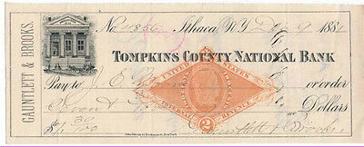 1881-2 Check, TOMPKINS COUNTY NATIONAL BANK, Ithaca, New York