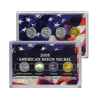 2005 American Bison Nickel Collection Set Hologram, Colorized, Gold Plated, BU