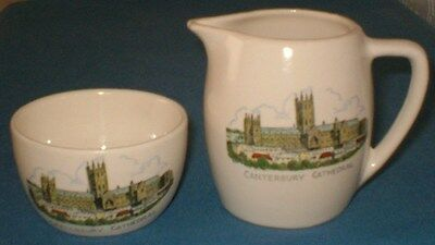 Vintage Canterbury Cathedral Jug And Bowl By New Devon Pottery Newton Abbot