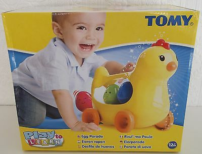 Tomy Play To Learn Egg Parade Toy Push Along Mother Hen & Coloured Eggs Bnib