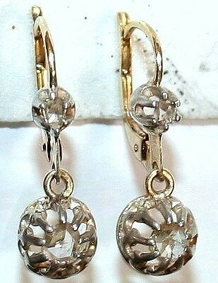 ANTIQUE VICTORIAN FRENCH 18k GOLD ROSE DIAMONDS 2 STONES DANGLE EARRINGS c 1880