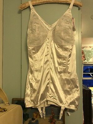 ❤️GORGEOUS VINTAGE STYLE STRETCH CORSET WITH SUSPENDERS 1940's HOUSEWIFE 46D ❤️