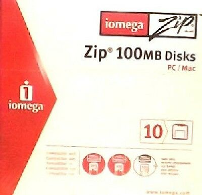 Iomega Zip 100MB Disks (pack of 10x) NEW - SEALED for PC's AND MACS