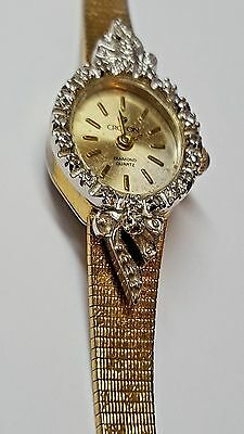 Vintage one  Jewel  Ladies 10 Diamonds chip  Croton Quartz Ladies Watch Working
