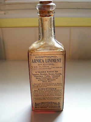 Arnica Opi. Liniment Bottle with Contents, Nice RARE Item