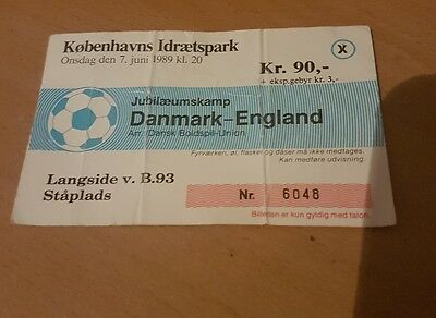 TICKET 1989 Denmark v England