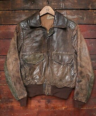 VTG 50s HERCULES OUTERWEAR HORSEHIDE LEATHER BOMBER JACKET A-2 MOTORCYCLE SMALL