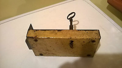 Antique French Iron Door Lock with Original Key Victorian 1800's Bolt Vintage