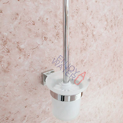 Round Toilet Brushes Set Glass Cup & Stainless Steel Holder Wall Mount Bathroom