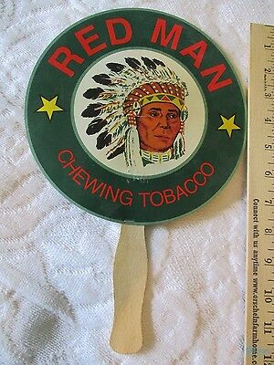 vintage cardboard fan, advertise, Red Man chewing Tobacco