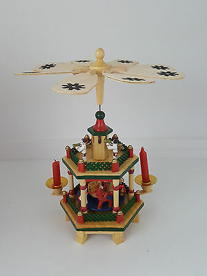 "Christmas Weihnachts 2 Tier 10"" German Wooden Nativity Pyramid"