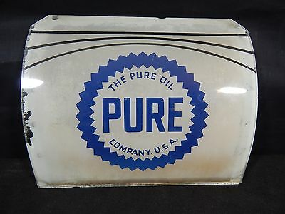 Vintage Pure Oil Co National 38 Gas Pump Curved Glass Lens Pump Plate Sign