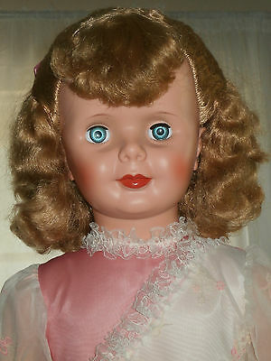 "All Original 1960s Unmarked Grocery Store Blond Curly Life Size 35"" Walker Doll"