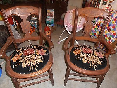 Pair of EastLake Chairs refinished with Vintage Material