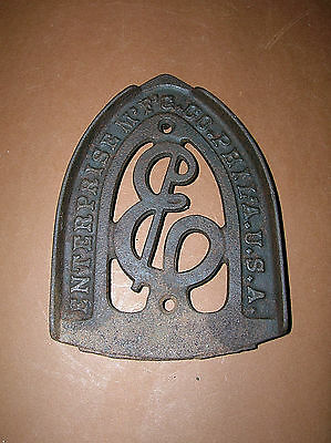 Antique Cast Iron Sad Iron Trivet Enterprise Mg Co Philadelphia