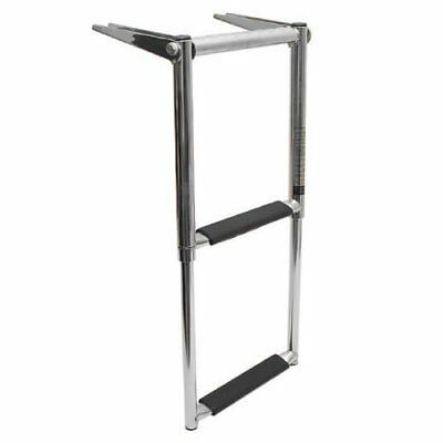 Boat Ladder 2 Step Telescoping Swim Marine  Stainless with Built in Handle New