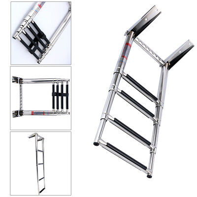 4 Step Ladder  Sport Boat Boarding Telescoping Stainless Built in Handle New