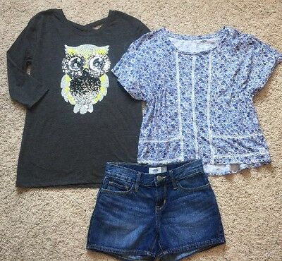 Lot of 3- Shirts and Shorts- Girls Size 10-EUC-Justice, Old Navy