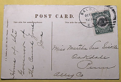 Panama Picture postcard 1909 #31 Canal Zone Overprint -To USA Ex. Condition
