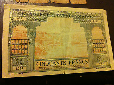 1943 morocco 50 francs rare note foriegn currency