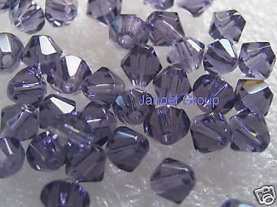 25 Pieces, 6mm CRYSTAL Bicone 'Light Purple' Beads