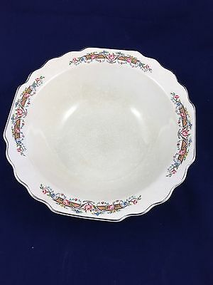 Vintage WS George U.S.A. Lido White With Pink Roses Silver Edging Serving Bowl