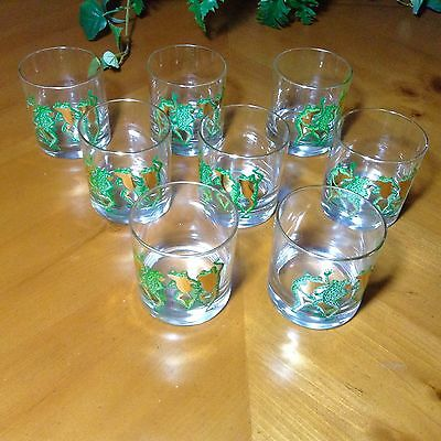 8 RARE Vintage COUROC Rock BAR Cocktail Glass DANCING GRN GOLD FROG Mid Century