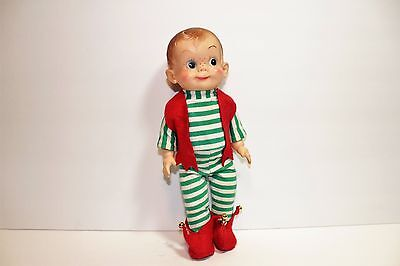 "Vintage Effanbee 10"" MICKEY Vinyl Boy Doll in Santa Elf outfit!"