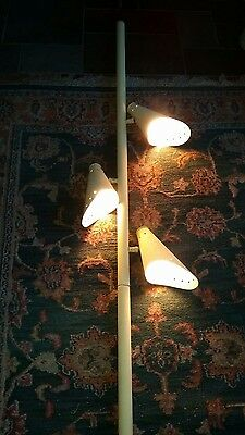 Vintage Mid-Century Art Deco Tension Pole Lamp & Cone Shades works parts or fix