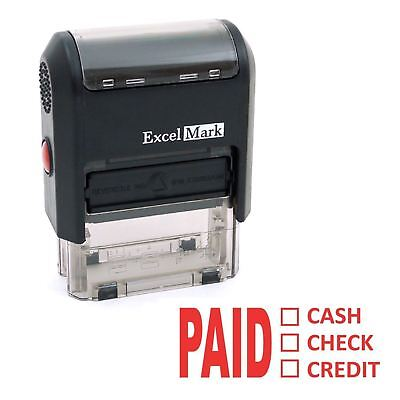 NEW ExcelMark PAID CASH CHECK CREDIT Self Inking Rubber Stamp A1539 | Red Ink