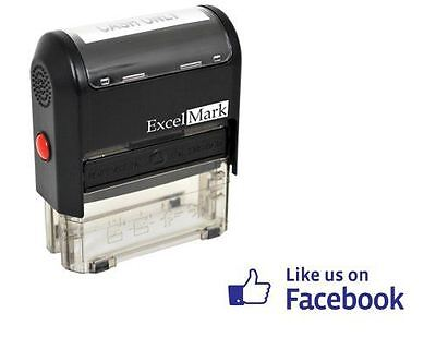 NEW ExcelMark Like Us On Facebook Self Inking Rubber Stamp A1539 | Blue Ink