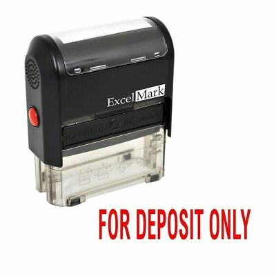 NEW ExcelMark FOR DEPOSIT ONLY Self Inking Rubber Stamp A1539 | Red Ink