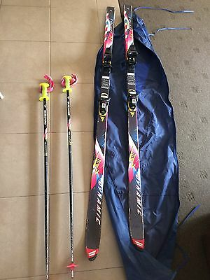 Vintage Down Hill Snow Skis Set With Poles