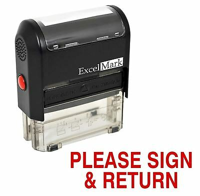 NEW ExcelMark PLEASE SIGN and RETURN Self Inking Rubber Stamp A1539   Red Ink