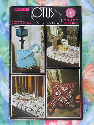 Vintage Coats Lotus Knitting & Crochet Cotton Craft Pattern Book #3
