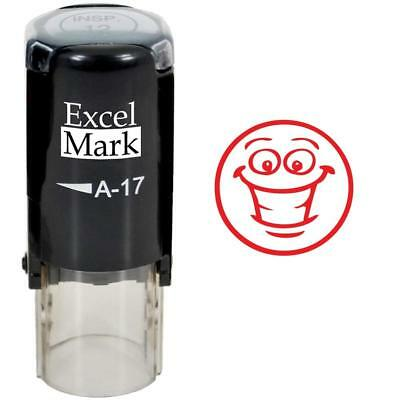 SMILEY FACE 3 - ExcelMark Round Self Inking Teacher Stamp A17 | Red Ink