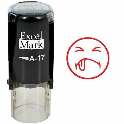 NEW ExcelMark YUK FACE Round Self Inking Teacher Stamp A17 | Red Ink