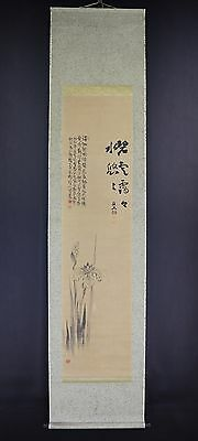 """JAPANESE HANGING SCROLL ART Painting """"Flower"""" Asian antique  #E6103"""