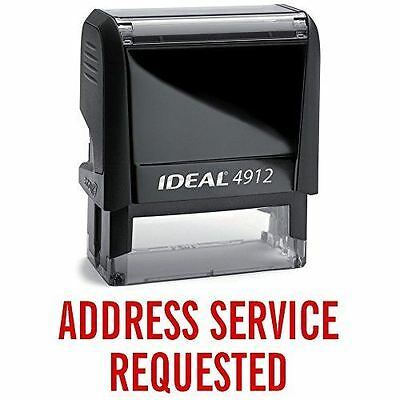 IDEAL 4912 ADDRESS SERVICE REQUESTED Self Inking Rubber Stamp | Red Ink
