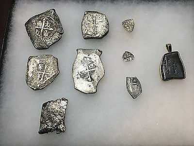 Group (9) Of  Reales Cobs 1600's To 1729 Silver Crown Shield
