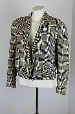 Vintage 1980's Erreuno Jacket Silk/ Wool Italian cropped check EUC size 42 S/M