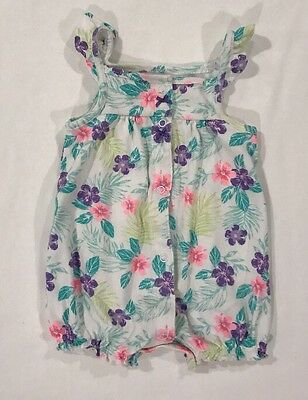 Carters Baby Girl Pink & Purple Floral Romper Size 6 Months